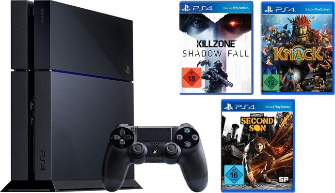 playstation 4 ps4 500 gb plus killzone shadow fall knack infamous second son triple pack