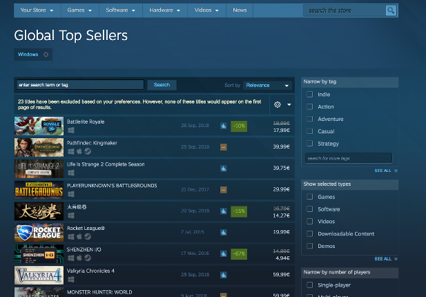 Battlerite Royale Steam Global Top Sellers List