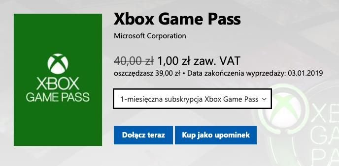 Xbox Game Pass Za 1 Zł