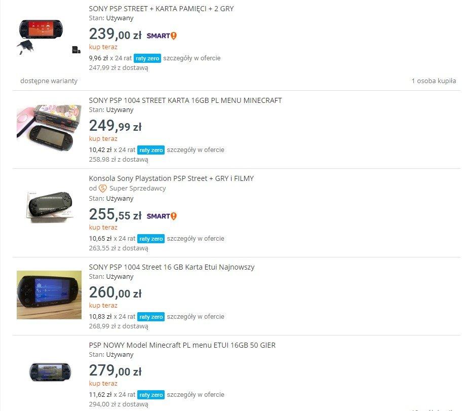 Ceny PSP na Allegro są bardzo dobre