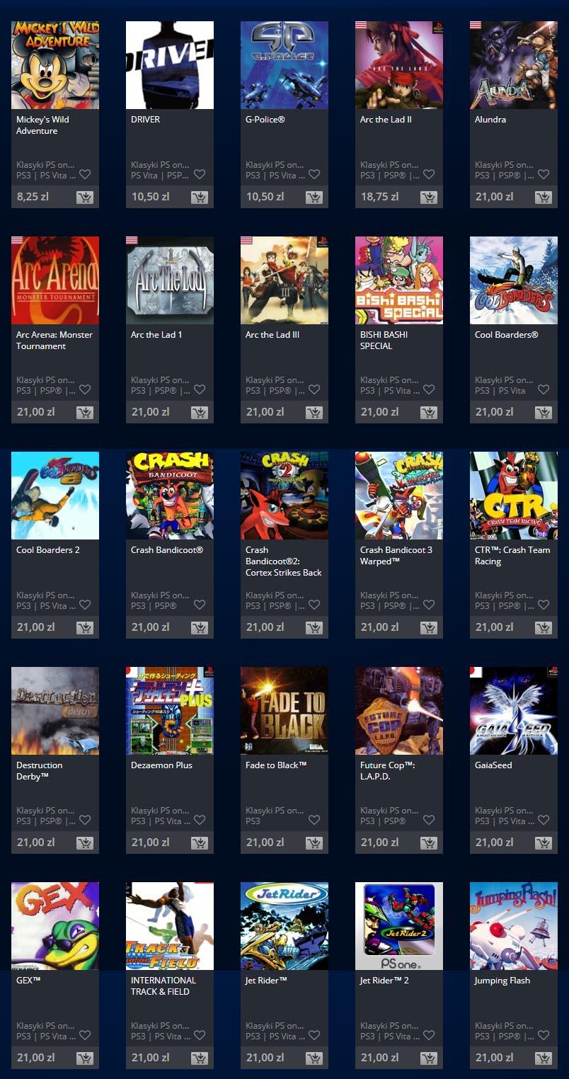 To tylko mała część dostępnych w PlayStation Store klasyków z PS One
