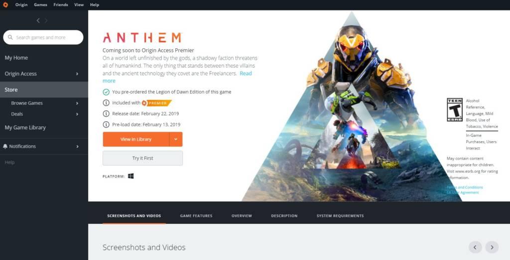 Anthem Vip Demo Origin