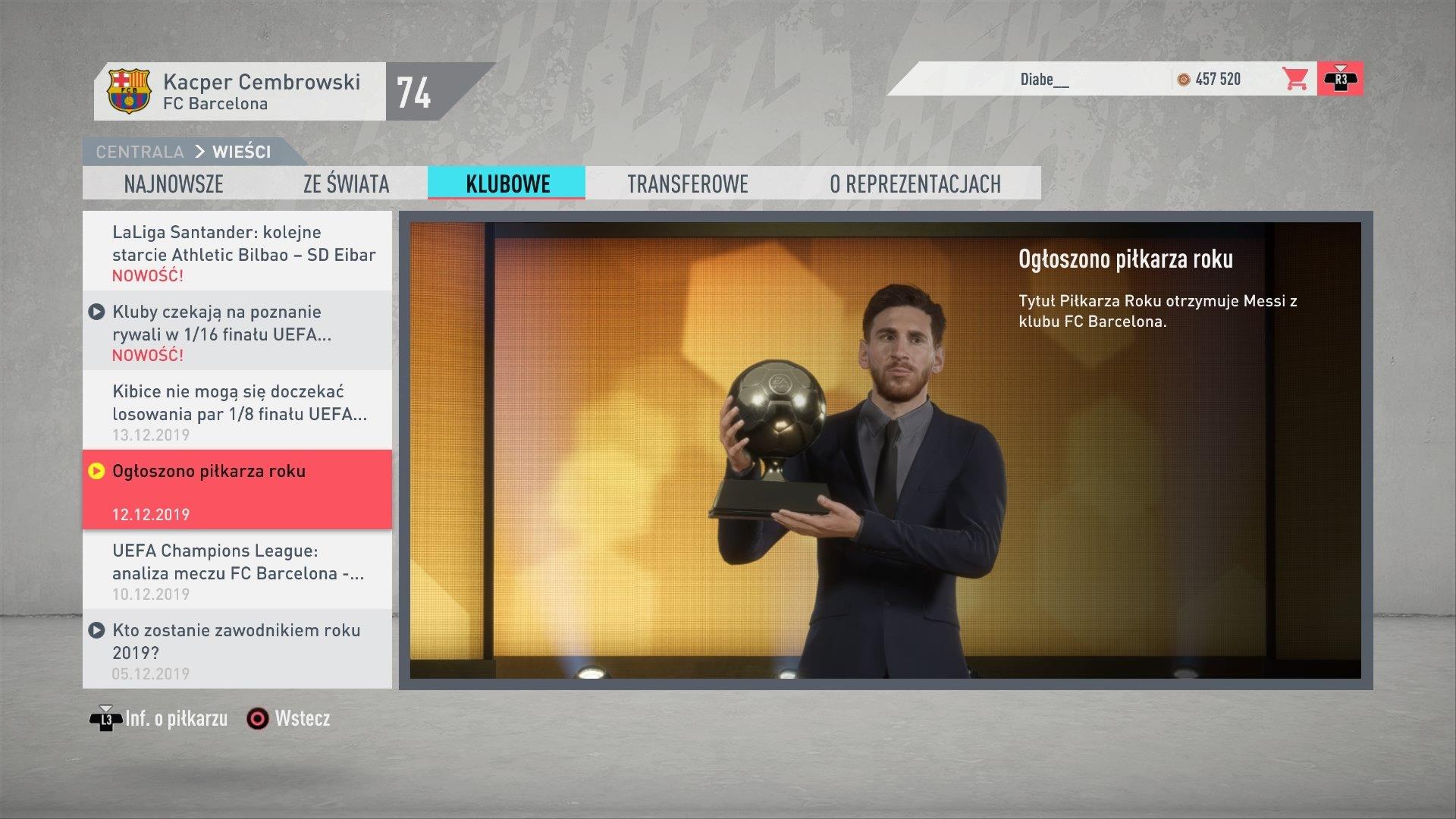 FIFA 20 Kariera w menu 11
