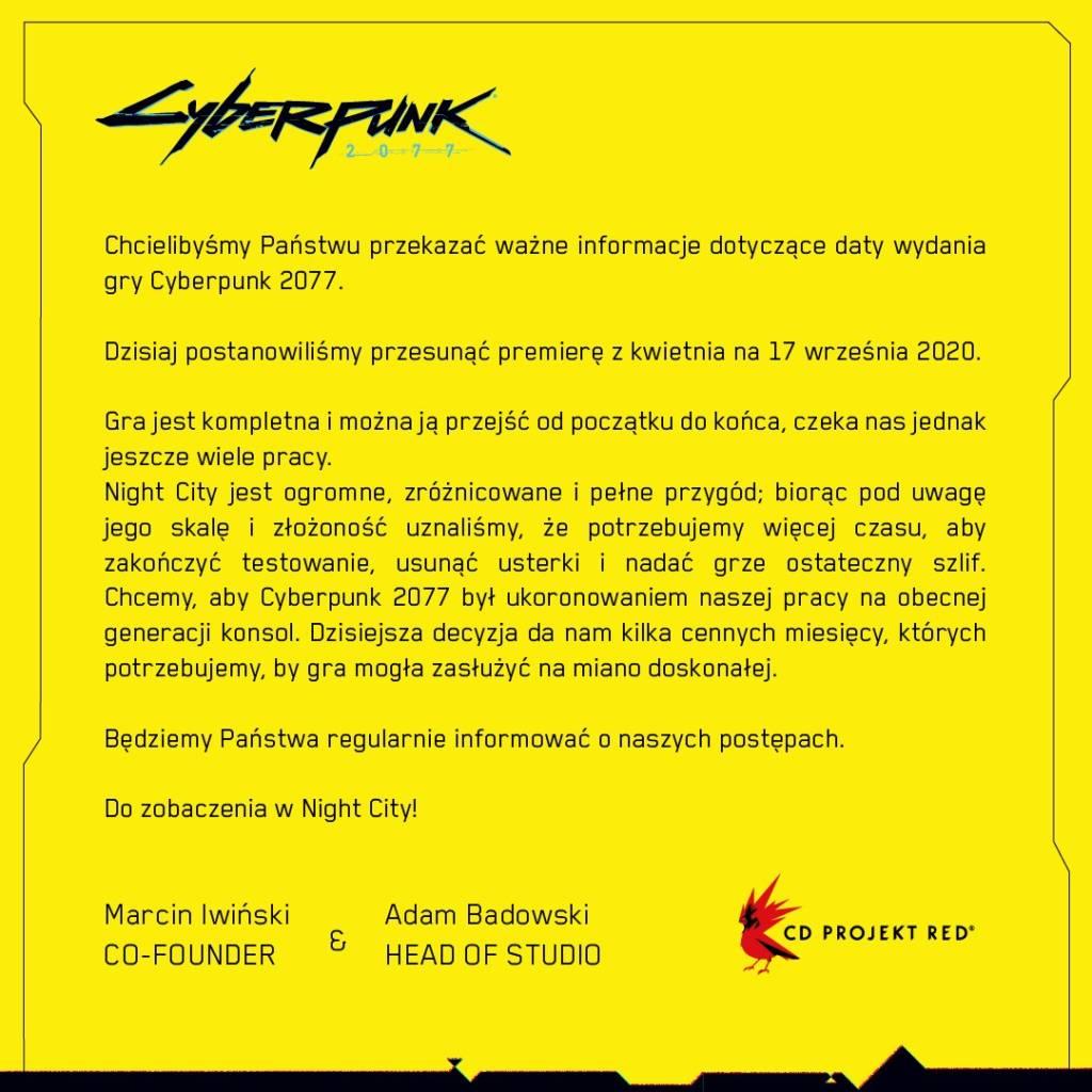 Cyberpunk 2077 opóźnienie data premiery