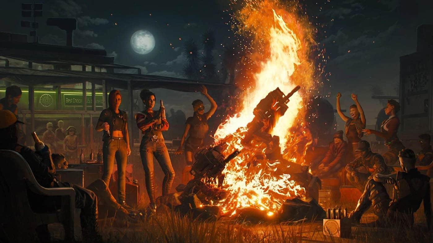 Cyberpunk 2077 impreza przy ognisku