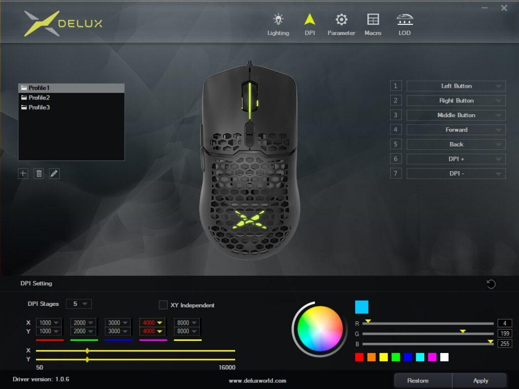Delux M700 (pmw3389) Aplikacja